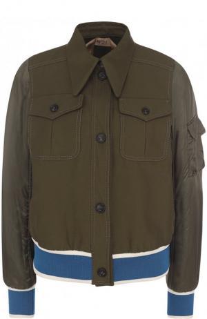 Хлопковый бомбер с накладными карманами No. 21. Цвет: хаки