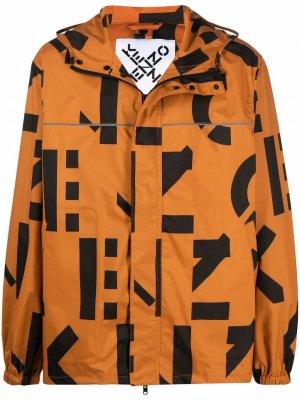 Logo print hooded jacket Kenzo. Цвет: оранжевый