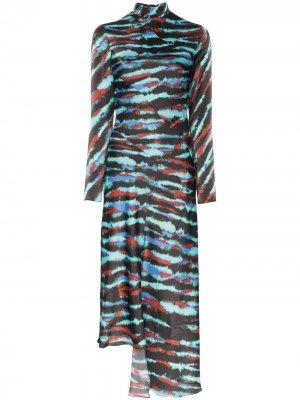 Платье миди асимметричного кроя в полоску House of Holland. Цвет: синий