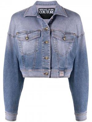 Укороченная джинсовая куртка Versace Jeans Couture. Цвет: синий