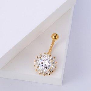 Кольцо для живота с цветочным декором и стразами SHEIN. Цвет: золотистый