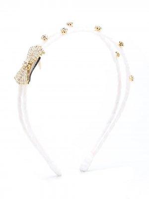 Ободок с кристаллами Monnalisa. Цвет: белый