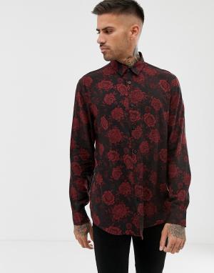 Черная свободная рубашка с принтом роз Bershka. Цвет: черный