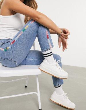 Голубые джинсы бойфренда с отделкой кантом -Синий Polo Ralph Lauren