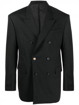 Двубортный пиджак Versace. Цвет: черный