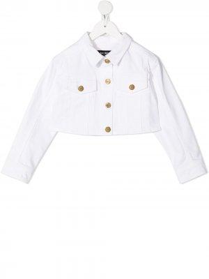 Укороченная джинсовая куртка Balmain Kids. Цвет: белый