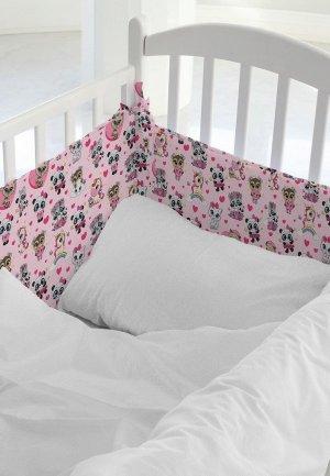 Бортик для детской кровати Juno Малыши девочки. Цвет: розовый