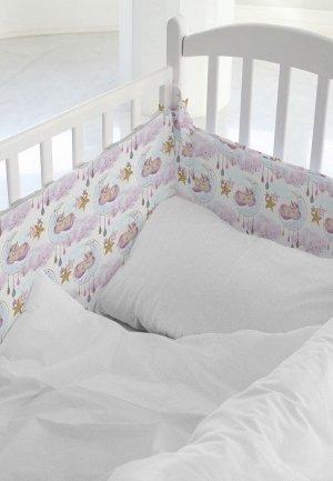 Бортик для детской кровати Juno Cute unicorns. Цвет: белый