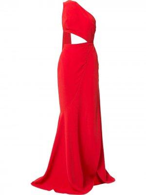 Cut-out high slit gown with back sash Elie Saab. Цвет: красный