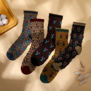 5 пар Носки с цветочным узором SHEIN. Цвет: многоцветный