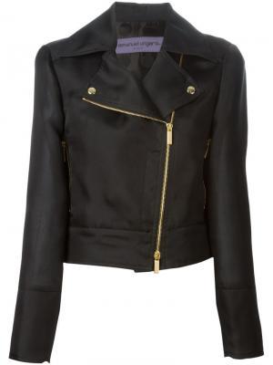 Укороченная байкерская куртка Emanuel Ungaro. Цвет: чёрный