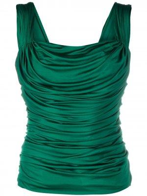 Драпированный топ без рукавов Dolce & Gabbana. Цвет: зеленый