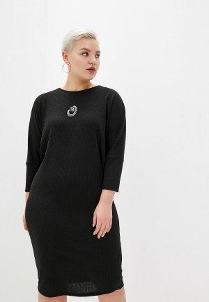 Платье Louitex с брошью. Цвет: черный