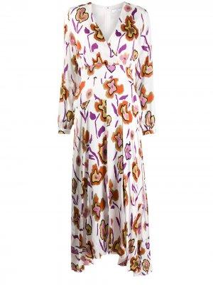 Расклешенное платье с длинными рукавами и цветочным принтом PS Paul Smith. Цвет: белый