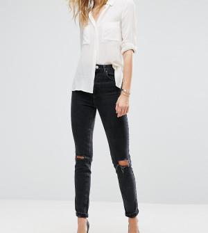 cbe319e5a86 Черные выбеленные джинсы слим в винтажном стиле с завышенной талией и рваной  отделкой ASOS DESIGN Tall