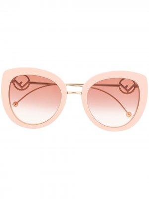 Солнцезащитные очки с логотипом Fendi Eyewear. Цвет: нейтральные цвета
