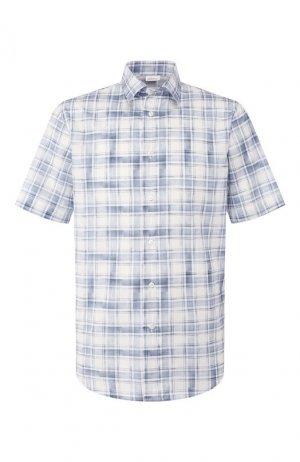 Хлопковая рубашка Brioni. Цвет: синий