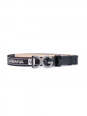 Ремень с логотипом Dolce & Gabbana Kids. Цвет: черный