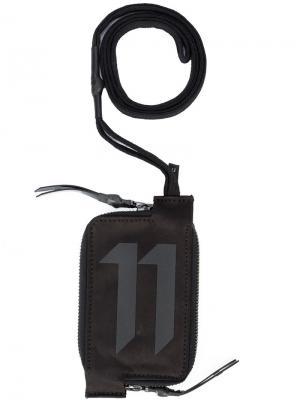 Бумажник с принтом-логотипом на молнии 11 By Boris Bidjan Saberi. Цвет: черный