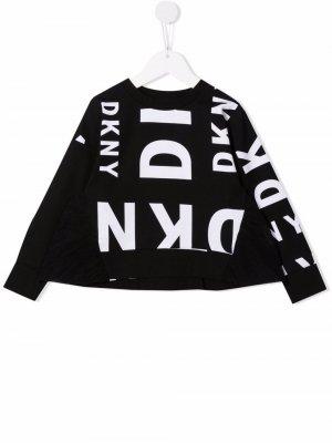 Толстовка с логотипом Dkny Kids. Цвет: черный