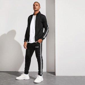 Мужские спортивные брюки и куртка с полосками SHEIN. Цвет: чёрный