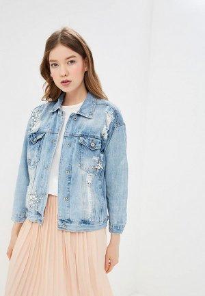 Куртка джинсовая Hailys Haily's. Цвет: голубой