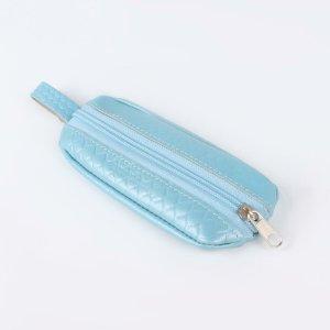 Ключница, длина 14,5 см, отдел на молнии, металлическое кольцо, цвет голубой TEXTURA