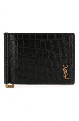 Кожаный зажим для денег Saint Laurent. Цвет: чёрный
