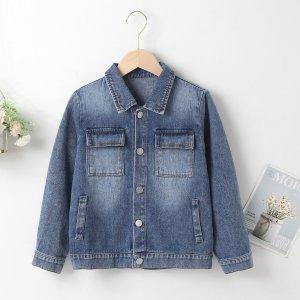 Для мальчиков Джинсовая куртка с карманом SHEIN. Цвет: синий цвет средней стирки