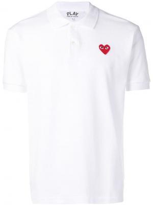 Рубашка-поло с нашивкой в виде сердца Comme Des Garçons Play. Цвет: белый