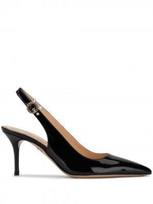 Туфли с заостренным носком и ремешком на пятке Charlotte Olympia. Цвет: черный