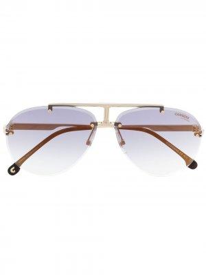 Солнцезащитные очки-авиаторы в безободковой оправе Carrera. Цвет: серый