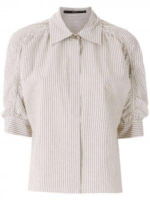 Блузка со сборками на рукавах Eva. Цвет: белый