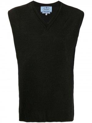 Трикотажный жилет 1990-х годов Prada Pre-Owned. Цвет: черный