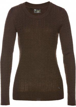 Пуловер с содержанием кашемира bonprix. Цвет: корич-невый