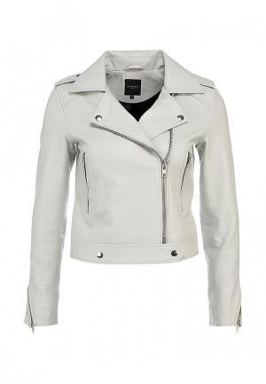 Куртка кожаная Selected Femme. Цвет: серый