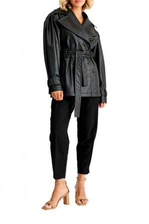 Куртка кожаная MUA. Цвет: черный