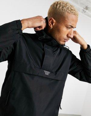 Черная куртка-ветровка на флисовой подкладке без застежки -Черный Bershka