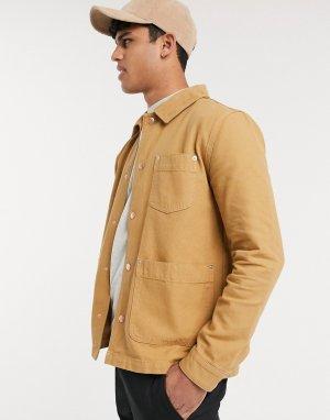 Джинсовая куртка-рубашка -Светло-коричневый ASOS DESIGN