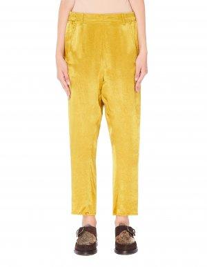 Укороченные брюки из золотистой ткани Ann Demeulemeester