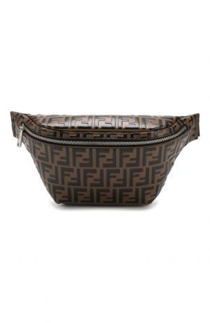 Кожаная поясная сумка Fendi. Цвет: коричневый