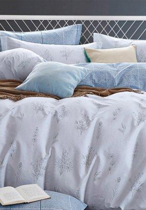 Постельное белье Евро Cleo Home Satin  Luxe. Цвет: серый