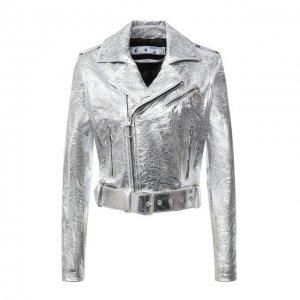 Кожаная куртка Off-White. Цвет: серебряный