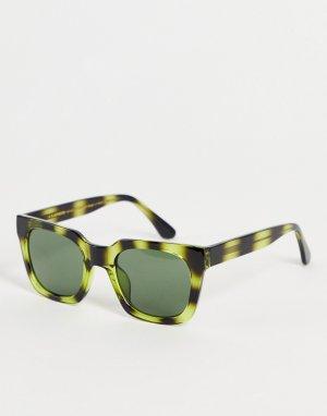 Зеленые солнцезащитные очки в стиле унисекс квадратной черепаховой оправе Nancy-Зеленый цвет A.Kjaerbede