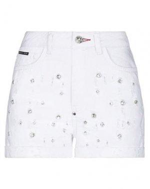 Джинсовые шорты PHILIPP PLEIN. Цвет: белый