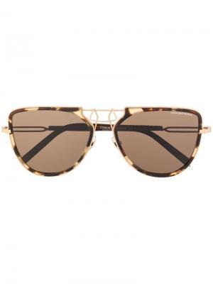 Солнцезащитные очки-авиаторы Calvin Klein 205W39nyc. Цвет: коричневый