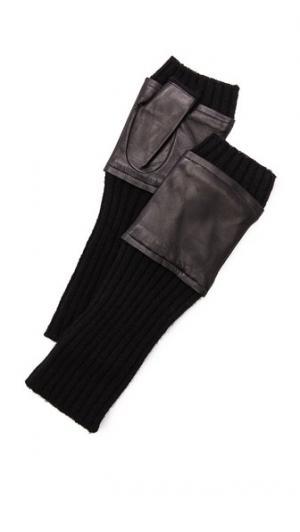 Fingerless Knit & Leather Gloves Carolina Amato