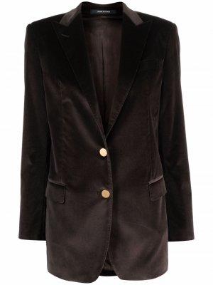 Fitted single-breasted blazer Tagliatore. Цвет: коричневый