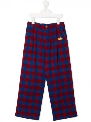 Клетчатые брюки прямого кроя Bobo Choses. Цвет: синий