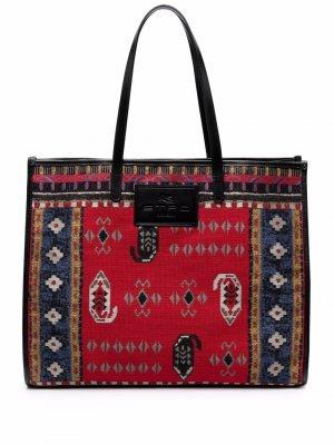 Jacquard-pattern tote bag ETRO. Цвет: красный